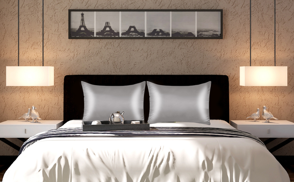 light blue with hidden zipper silk satin pillowcases
