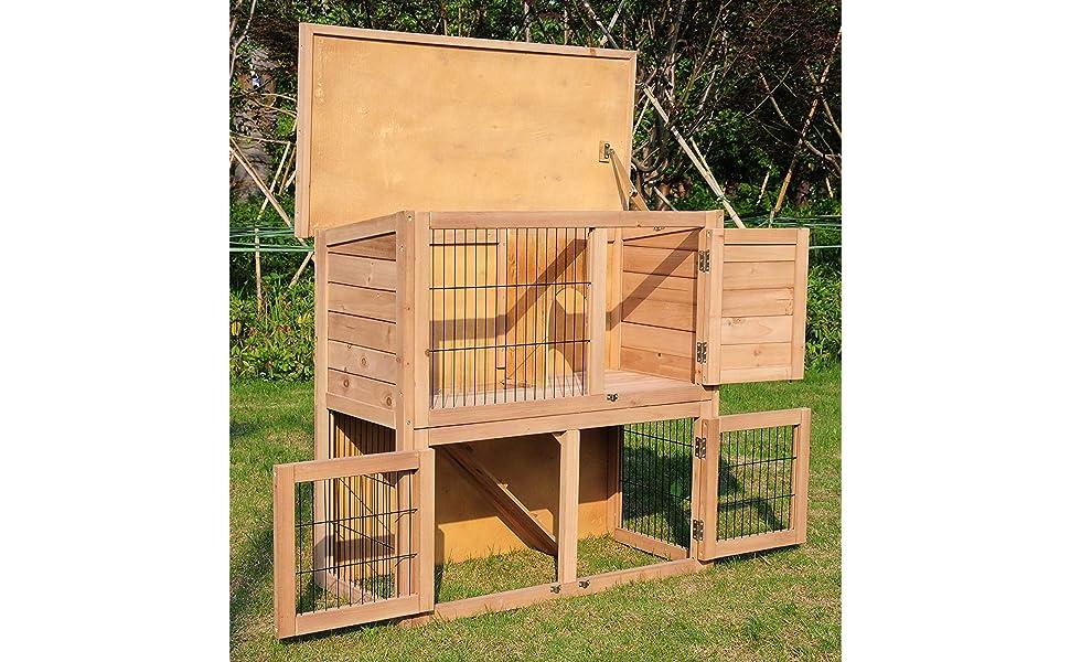 Eugad 0040ht Clapier Lapin Cage De Lapin En Bois Massif 91x45x87cm Amazon Fr Animalerie