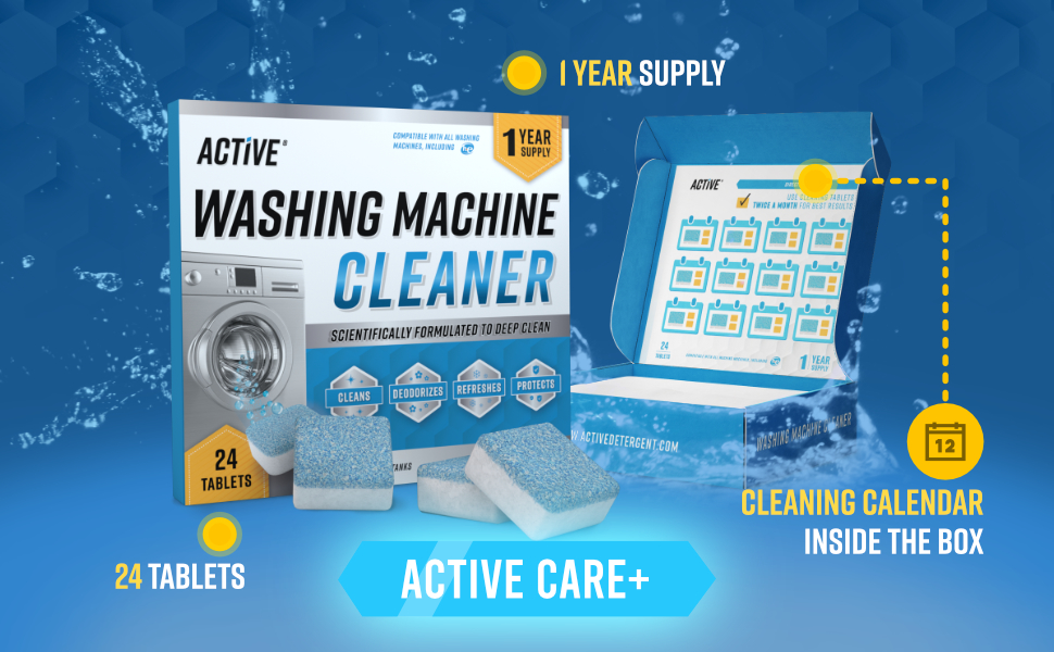 active, washing, machine, cleaner, tablets