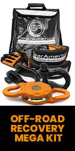 Gear America Off-Road Recovery Mega Kit, Mega Snatch Block, Mega Shackles, Tow Straps, recovery kit