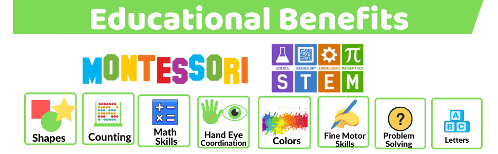Educational Benefits: Montessori STEM Shapes Counting Math skills hand eye coordination colors ABC