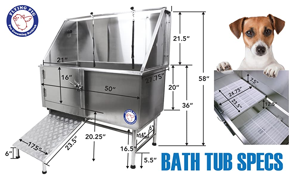 Flying Pig Grooming Stainless Steel Bathtub