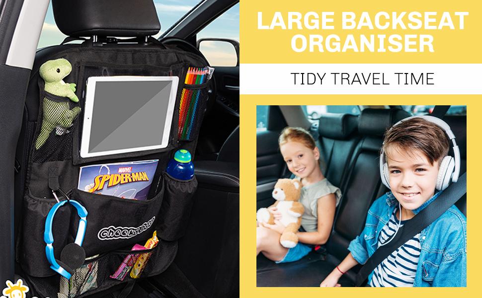 Cheekyboo Großer Auto Rücksitz Organizer Für Kinder Und Kleinkinder Mit 25 7 Cm 10 1 Zoll Touchscreen Halterung Ipad Tablet Auto Aufbewahrung Und Sitzschutz Passend Für Alle Autos Auto