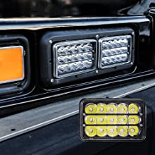 """4pc 45W 6""""x4"""" LED Headlight with Black Housing on Black Bus showing the Black Housing."""