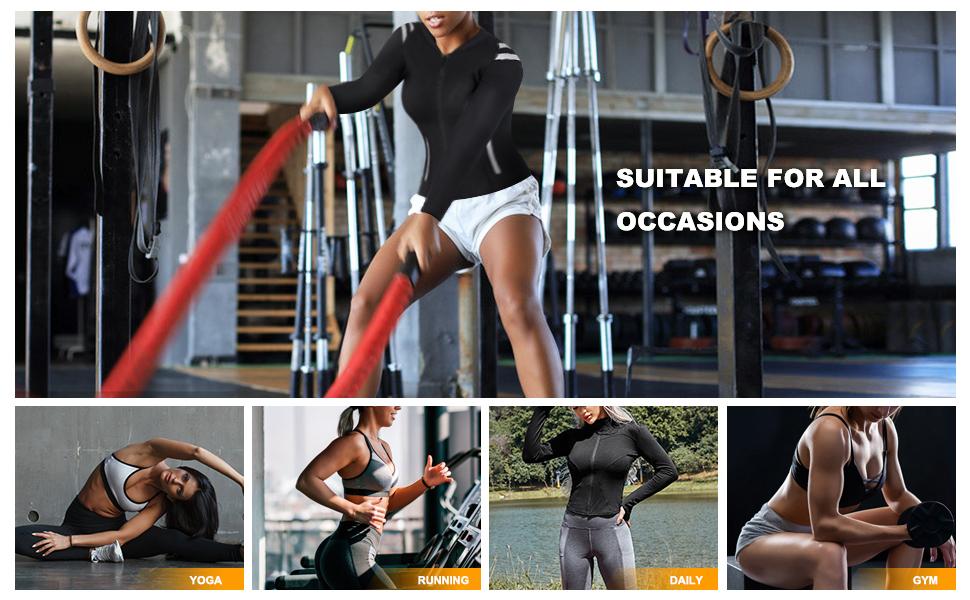 SCARBORO Women Neoprene Sauna Suits Long Sleeve Running Workout Jacket -05