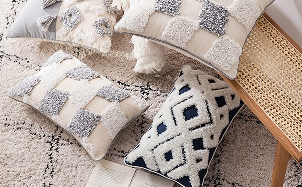 lumbar small decorative throw pillow covers for sofa couch bedroom living room, woven tufted boho