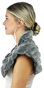 huggaroo patented neck wrap microwavable heat pad grey