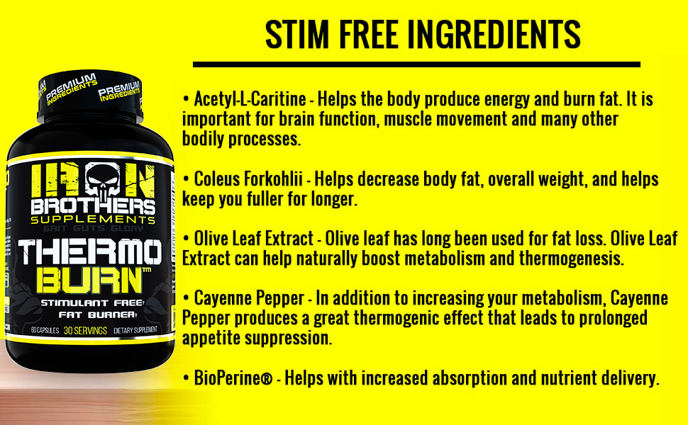 Iron Brothers Stim Free Ingredients, BioPerine, Olive Leaf Extract, Acetyl-L-Caritine, L theanine