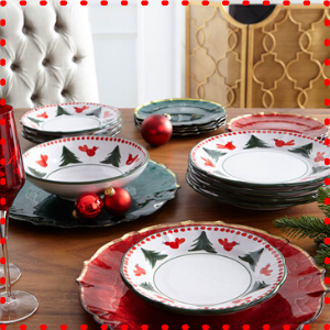 vietri uccello rosso christmas dish plate holiday tree red bird cardinal xmas italy handpainted bowl