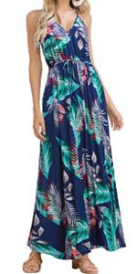 Spaghetti Strap Tropical Maxi Dress
