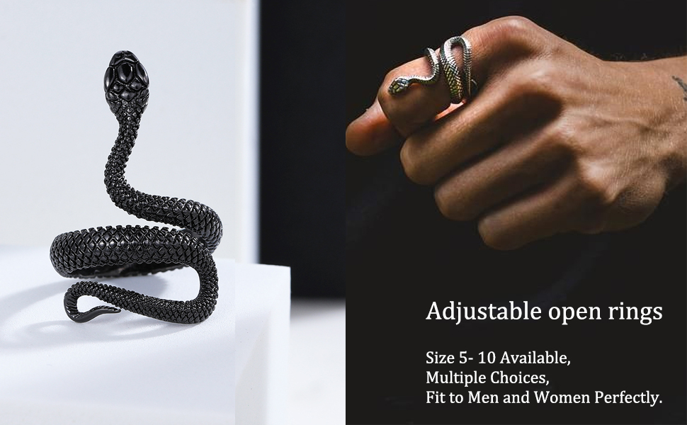 Antique Silver Plated Ring Women Jewelry Men Retro Alloy Snake Open Ring—AY