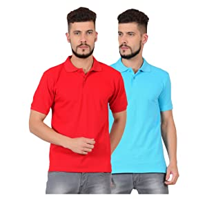 Tshirt combo cotton polo red sky blue