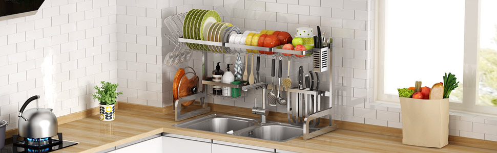 Surpahs Over the Sink Multipurpose Roll-Up Dish Drying Rack Expandable Dish Drying Rack