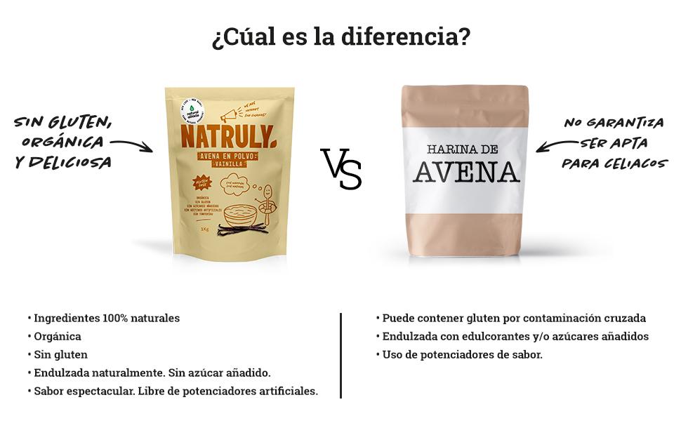 NATRULY Harina de Avena Sabor Vainilla, BIO Avena en Polvo Sin Azúcar, Sin Gluten, 1 KG (antes Natural Athlete)
