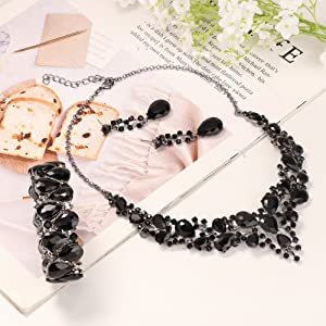 Crystal  Bridal Jewelry Sets for Women Necklace  Earrings Bracelet Set Wedding Rhinestone Bridesmaid