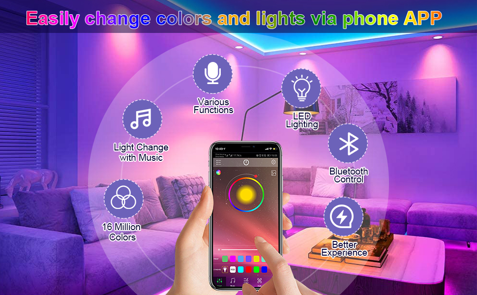 bluetooth rgb led strip lights music sync for bedroom 40ft tape lights with ir remote controller app