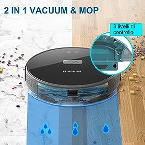 Robot Aspirapolvere Lavapavimenti,HONITURE Q5 WIFI Aspirapolvere Robot 2 in 1,Aspirapolvere e scopa con display a LCD,controllo con App e Alexa,ideale per pavimenti duri utti i tipi di pavimenti