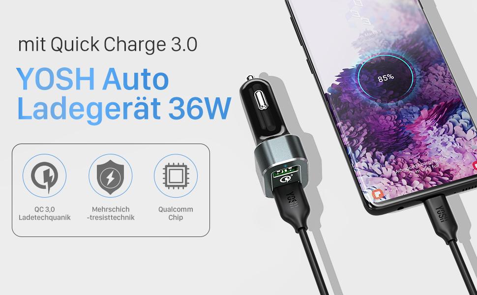 Auto Ladegerät mit Quick Charge 3,0
