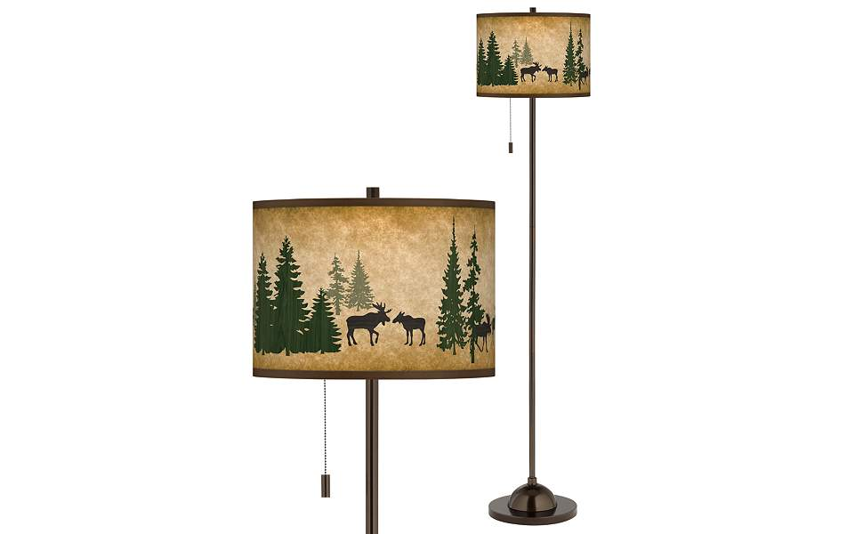 Moose Lodge Giclee Glow Bronze Club Floor Lamp