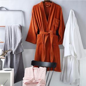 Cotton Terry Cloth Bathrobe Shawl Collar Velour Spa Robe Hooded Bath robe Turkish terry