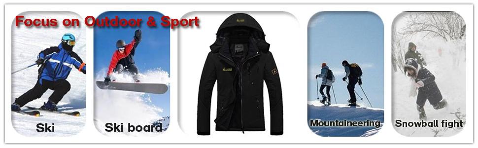 Men's Waterproof Ski Jacket Winter Warm Snow Coat