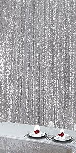 Zdada Pailletten Hintergrund 60 X 245 Cm Paillettenstoff Hintergrund Vorhang Für Hochzeit Party Zuhause Vorhang Dekoration Silber Pailletten Photo Booth Hintergrund Küche Haushalt