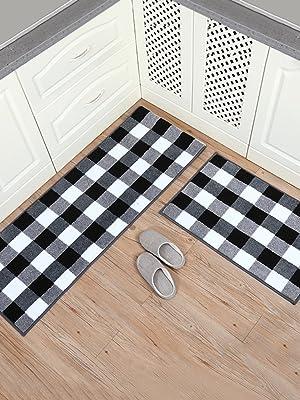 buffalo plaid kitchen rug set