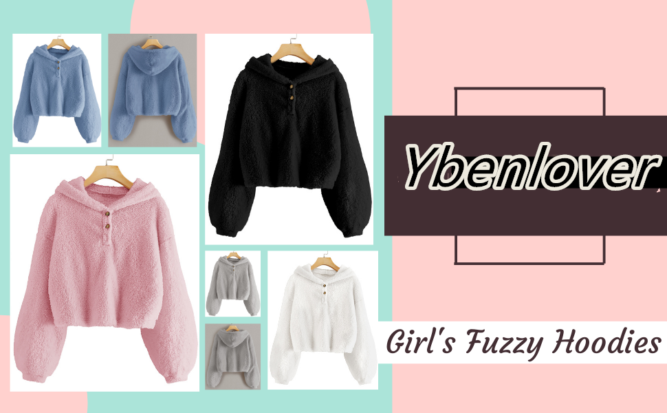Ybenlover Kids Girl's Fuzzy Hoodies Warm Loose Button Down Pullover Sherpa Jacket Top