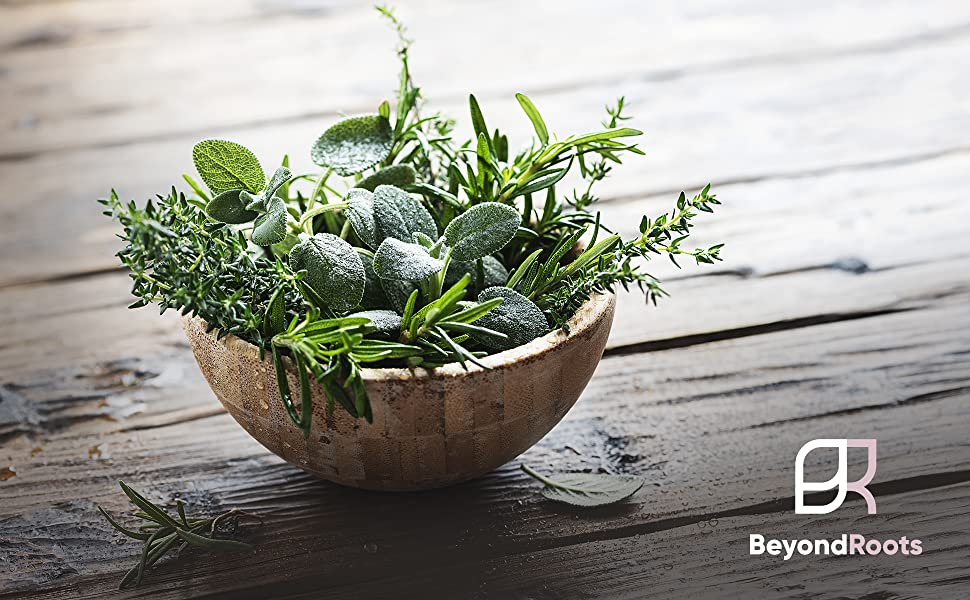 Bowl of herbs sitting on a table