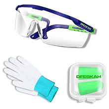 goggles, gloves, earplugs