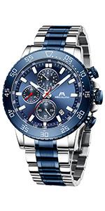 Orologio Uomo Cronografo Analogici Grande Acciaio Design Blu Orologio da Polso
