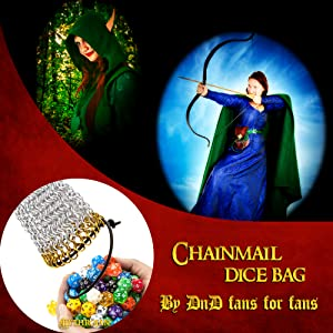 tabletopgames tarvels_trinkets chainmaille chainmailleproject chainmaildicebags chainmailledicebag