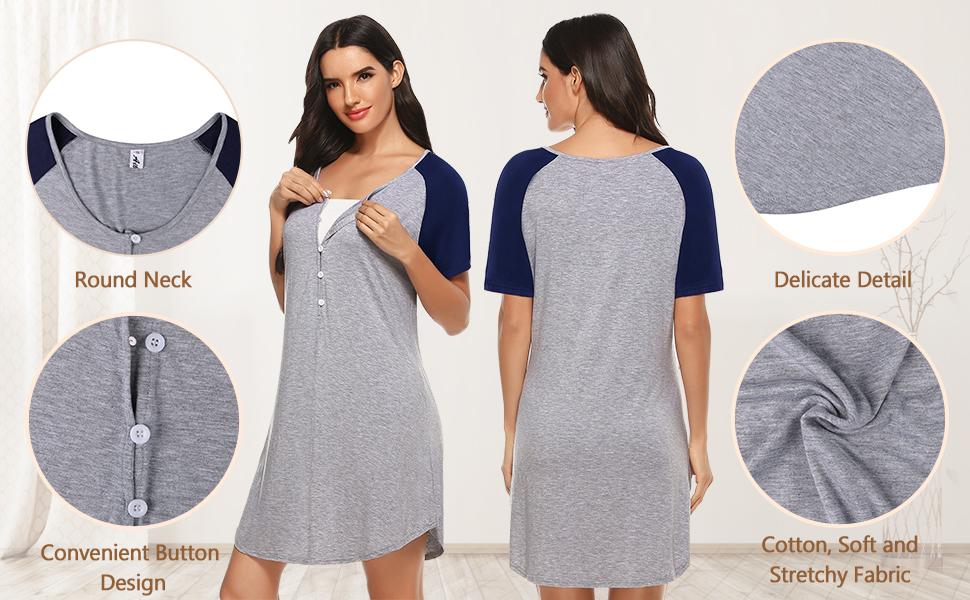 Maternity Nursing Nightdress Soft Button Summer Maternity Pyjamas Nightie Nightshirt Aibrou Women/'s Breastfeeding Dress