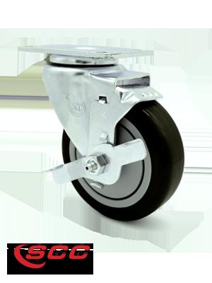 Service Caster, 4 inch polyurethane caster, top plate, top lock brake
