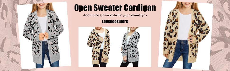 little girl open front sweater cardigan coat outerwear button leopard pocket winter warm lightweight