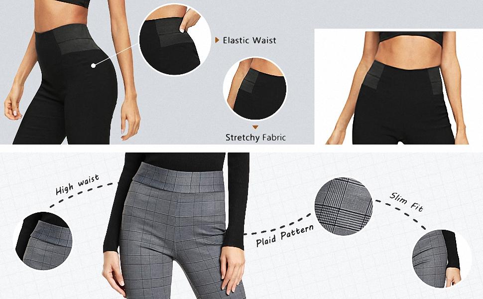 Plaid Pattern/Stretchy Fabric/High Waist/Elastic Waist/Slim Fit