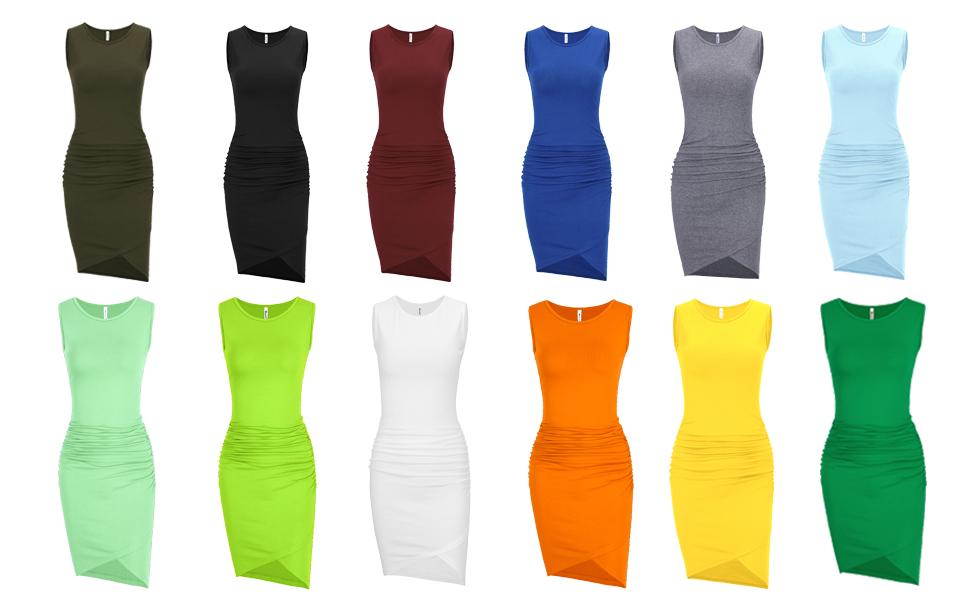 Missufe Womens Sleeveless Ruched Bodycon Casual Irregular Hem Tank Dress