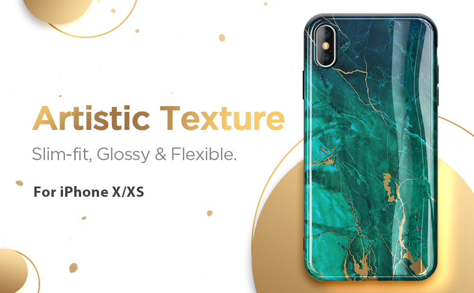 iPhone X/XS Marble Case-Green/Gold