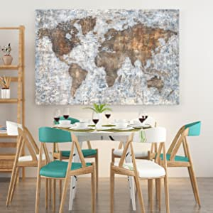 World Map Wall Art For Dinning Room