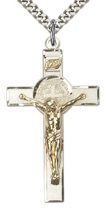 Two Tone Saint Benedict Crucifix Sterling Silver Gold Filled