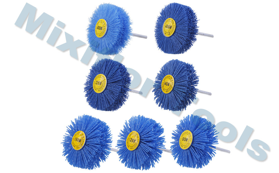 Mixiflor 7 Pack Abrasive Nylon Wheel Brush Woodwork Polish Grinder with 1//4 Inch Shank 80# 120# 180# 240# 320# 400# 600#