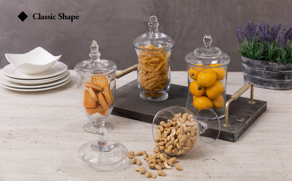 Set of 4 Small Clear Glass Apothecary Jars/Candy Buffet Containers with Lids
