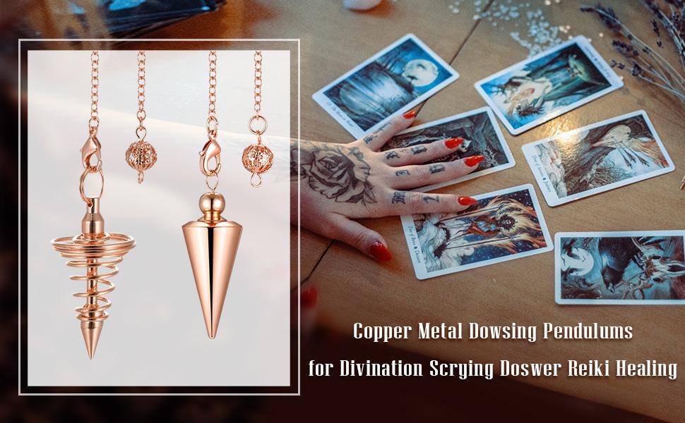 PESOENTH 4pc Copper Metal Dowsing Pendulums for Divination Scrying Doswer Reiki Healing Pendulum Chain,Bronze Spiral Coil Point Meditation Yoga Balancing Pendants
