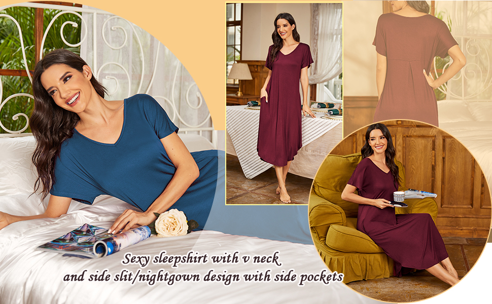Nightgown woman v neck
