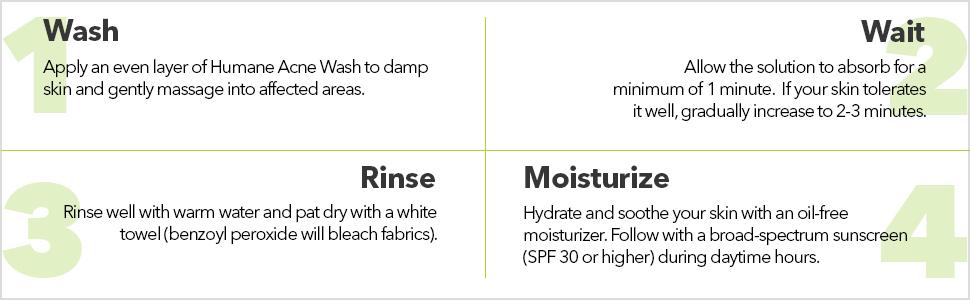 Humane Acne face body wash acne treatment benzoyl peroxide 10% benzoyl peroxide acne wash cleanser
