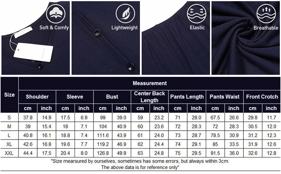 Pajama Size Chart