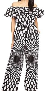 african ankara print long sleeve smock elastic chambray off the shoulder jumpsuit nice casual pants