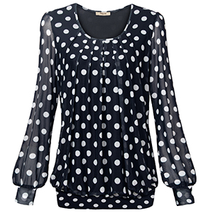 Business Attire Spring Fall Office Long Sleeved Pleated Front Black Polka Dots Tunic Dressy Flowy