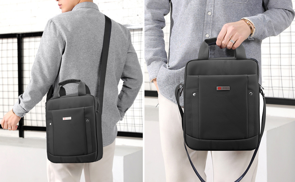 SPAHER Homme Porte-documents Oxford R/ésistant /à Leau Ordinateur Portable Sac /à Bandouli/ère Cartable Sacoche A Main Mallette Sling Crossbody Satchel Backpack Rucksack Noir