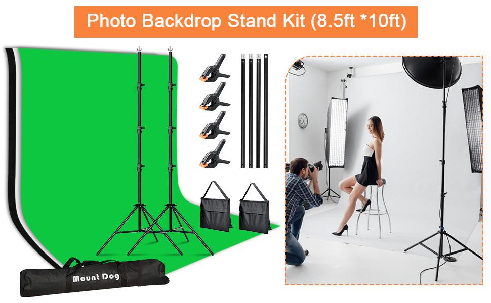 背景支架 8.5 X 10 英尺背景支架 6 X 9 英尺背景(白、黑、绿屏)